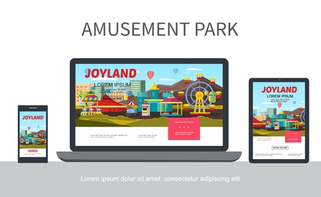 Flat amusement park adaptive design concept with different attractions   on laptop mobile tablet screens isolated vector illustration
