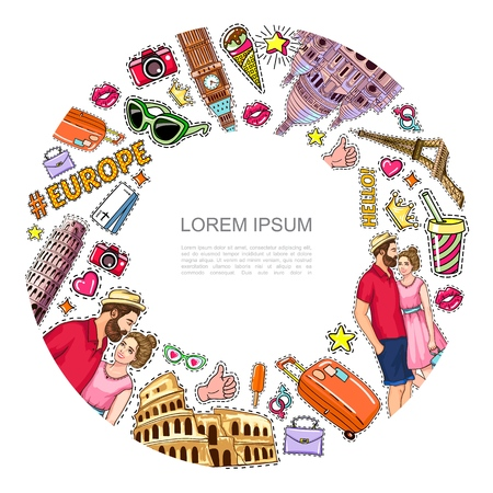 Pop art travel patches round concept with famous sights couple camera tickets eyeglasses bag ice cream soda heart crown stickers vector illustration Ilustracja