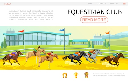 Cartoon equestrian competition web page template with jockeys riding horses on stadium horseshoe cup medal icons vector illustration