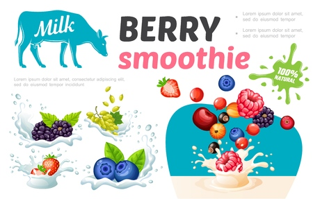 Cartoon sweet healthy smoothies template with natural fresh berries in milk and cream splashes vector illustration Illustration