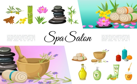 Flat spa salon elements collection with cinnamon sticks olive oil cream stones bamboo lotus flower towels aloe vera aroma candles honey vector illustration Banque d'images - 107659835