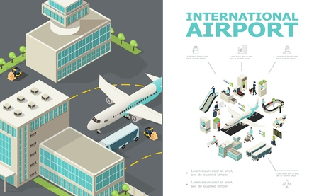 Isometric international airport composition with airplane bus buildings check-in desk customs and passport controls passengers departure board baggage conveyor belt vector illustration