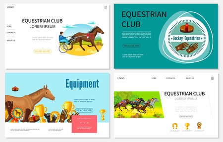 Cartoon equestrian sport websites set with jockeys riding horses brush medal trophy horseshoe jockey gloves boots vector illustration Illustration