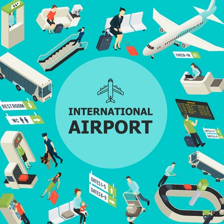 Isometric airport colorful template with passengers bus airplane customs control waiting hall departure board escalator baggage conveyor belt vector illustration