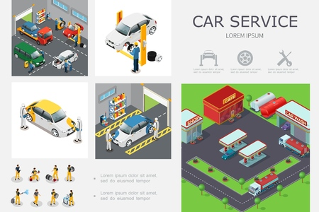 Isometric car service infographic template with workers change tires wash and repair automobiles vector illustration Standard-Bild - 110285890