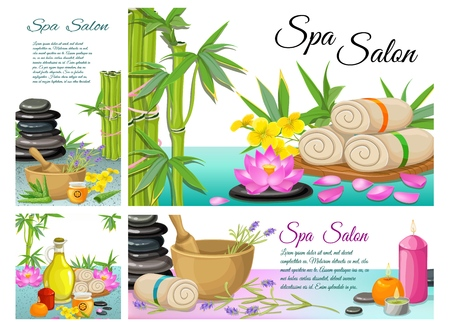 Cartoon spa salon composition with stones bamboo towels lotus flower mortar aroma candles aloe vera natural olive oil vector illustration Фото со стока - 108054387
