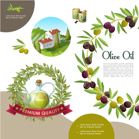 Cartoon black and green olive template with olive branch wreath cans bottle of natural oil building on hill vector illustration Иллюстрация