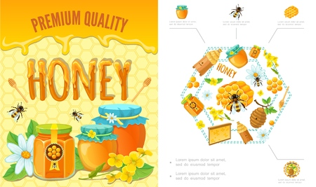 Cartoon beekeeping colorful concept with bees honeycomb hive clipper stick flowers jars and pots of organic fresh honey vector illustration