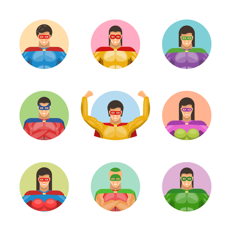Super men avatars set with smiling men and women in colorful clothings and masks isolated vector illustration Ilustrace