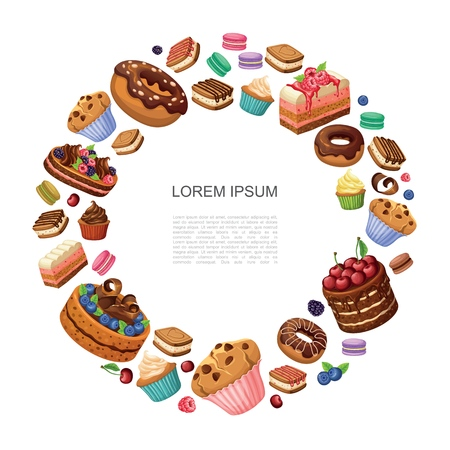Cartoon desserts round concept with donuts pie pieces macaroons cupcakes muffins cakes with raspberries blackberries blueberries isolated vector illustration Ilustracja