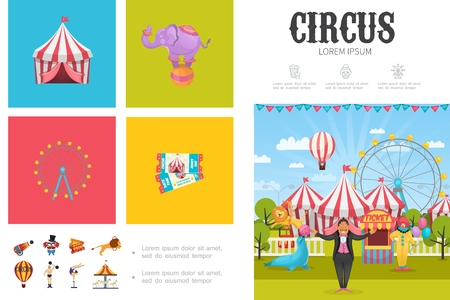 Flat circus infographic concept with magician acrobat clown strongman trained animals ferris wheel carousels tents tickets cannon vector illustration