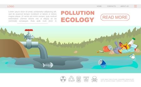 Platte ecologie vervuiling webpagina concept met navigatiemenu afval en waterverontreiniging door industriële pijp vectorillustratie