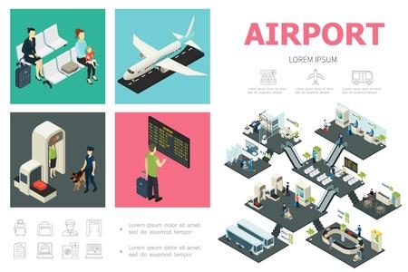 Concept d'infographie aéroport isométrique avec passagers avion contrôle des douanes tableau de départ salle d'attente bus snack-bar bagages bande transporteuse illustration vectorielle