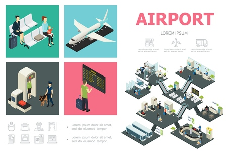 Isometric airport infographic concept with passengers airplane customs control departure board waiting hall buses snack bar baggage conveyor belt vector illustration