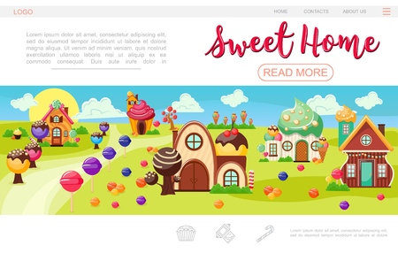 Flat sweet village web page template with lollipop icecream trees colorful houses of whipped cream cakes and chocolate vector illustration