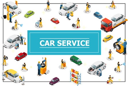 Isometric car and tire service concept with professional workers in process of automobile repair different car models and types in frame vector illustration