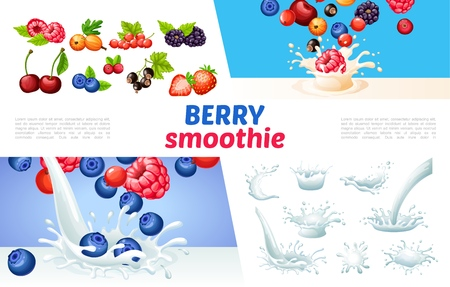 Cartoon berry smoothies concept with milk splashes and drops blueberry raspberry strawberry currants  gooseberry cherry cranberry vector illustration Illusztráció