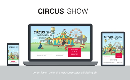 Flat circus adaptive design concept with trained seal elephant juggling clown strongman tent ferris wheel carousel on mobile laptop tablet screens isolated vector illustration