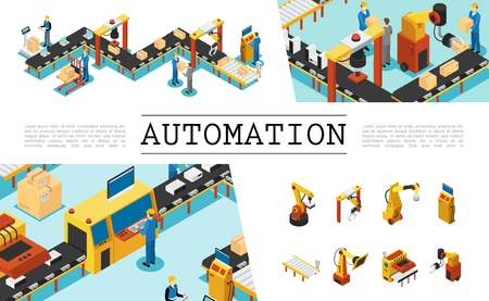 Isometric automated factory elements set with industrial assembly and packaging lines operators mechanical robotic arms vector illustration