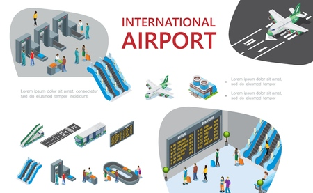 Isometric airport composition with passengers pass customs and passport controls airplanes airline escalators ladder bus airplanes departure board baggage conveyor belt vector illustration