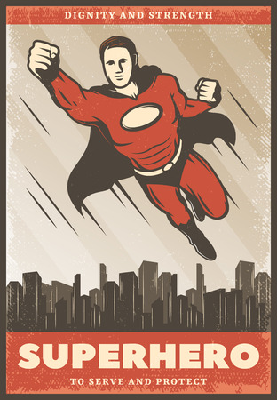 Vintage colored superhero poster with flying powerful super hero wearing cape on cityscape vector illustration Illustration