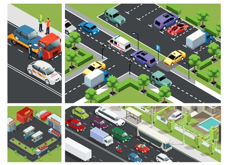 Isometric urban traffic composition with cars moving on road parking building gas station and roadside assistance vector illustration Ilustracja