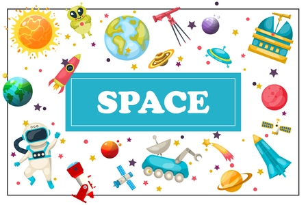Flat space concept with cosmonaut earth jupiter mars planets sun alien telescope planetary spaceship ufo satellite meteor rocket moon rover in frame vector illustration