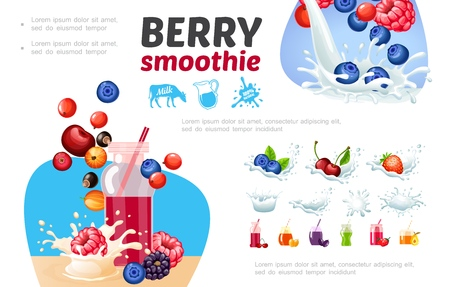 Cartoon healthy berry smoothies composition with milk splashes blueberry raspberry currants  cranberry pear strawberry cherry vector illustration