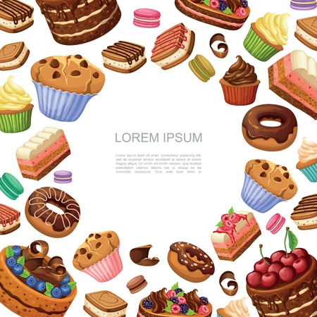 Cartoon cakes and desserts background with macaroons donuts muffins cupcakes and pie pieces vector illustration
