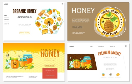 Cartoon honey websites set with beehives honeycomb bees flowers pots and jars of organic sweet product vector illustration