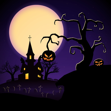 Happy Halloween party template with haunted castle graveyard trees evil pumpkins on purple moon background vector illustration