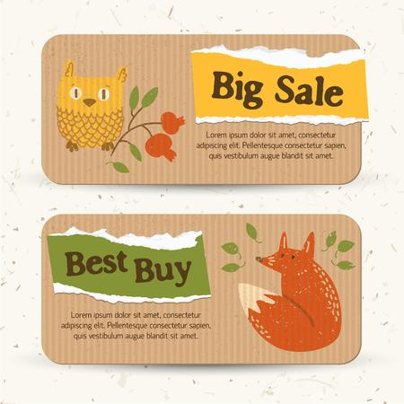 Banners horizontales de venta de otoño vintage con texto, papel rasgado, hojas, búho, zorro y arándano, rama, vector, ilustración