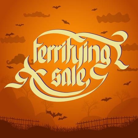 Concepto tipográfico de venta aterradora sobre fondo de halloween con ilustración de vector plano de murciélagos voladores