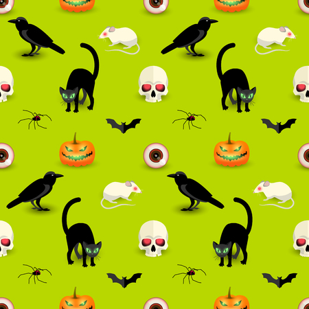 Colorful Halloween seamless pattern with skull black cat raven bat spider pumpkin rat human eye vector illustration