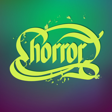 Bright word horror written on gradient background typographical concept flat vector illustration