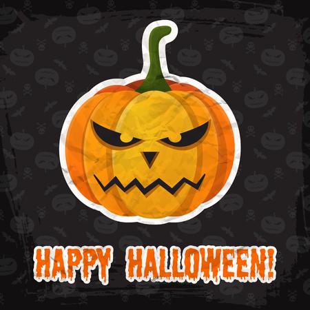 Vintage Happy Halloween template with inscription and evil pumpkin paper sticker on dark background vector illustration