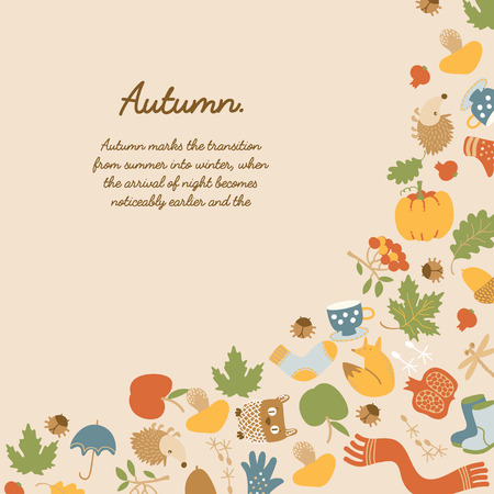Abstract seasonal colorful poster with text and traditional autumn elements on light background vector illustration Çizim