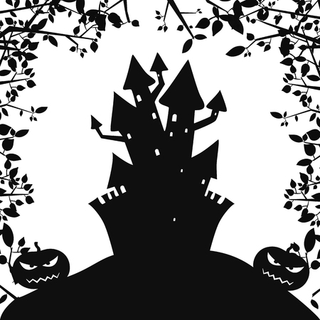 Monochrome Halloween party background with scary haunted castle evil pumpkins and tree branches vector illustration