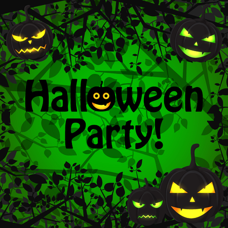 Halloween Holiday natural template with scary pumpkins with different expressions and tree branches on green background vector illustration  イラスト・ベクター素材