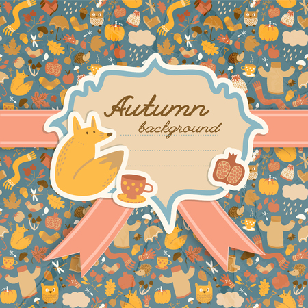 Doodle style fall background with copybook cover design shape for handwritten text and small decorative images vector illustration