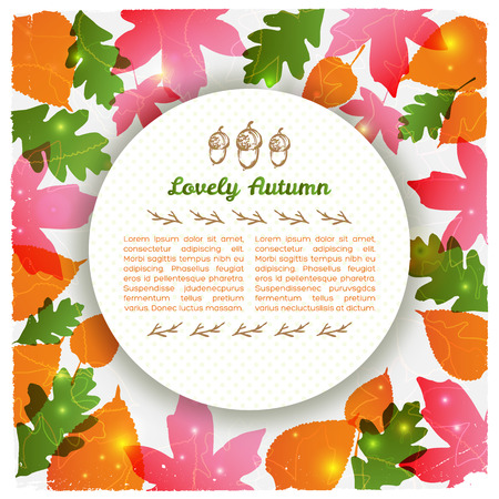 Lovely autumn round card with acorns and twigs on textured colorful leafy background vector illustration 向量圖像