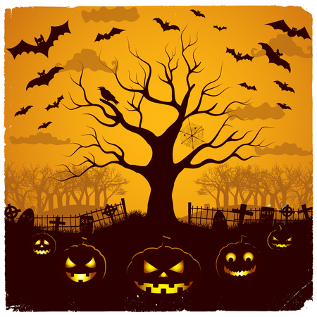Halloween evening design with festive lanterns at cemetery tree and bats on yellow sky background vector illustration