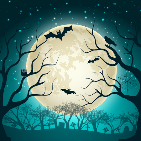 Halloween party  background with big glowing moon ball on night sparkle sky and bats in magic forest flat vector illustration