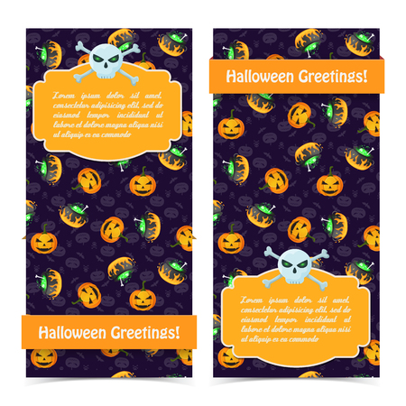 Happy Halloween vertical banners with text skull crossbones witch cauldrons scary pumpkins on purple background vector illustration