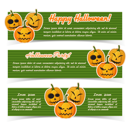 Greeting Halloween party horizontal banners with inscriptions and paper evil pumpkins stickers on green striped background vector illustration