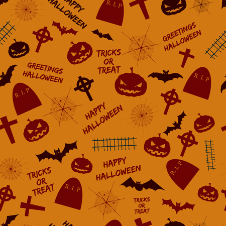 Greetings halloween seamless pattern abstract design with holiday symbols and text tricks or treat on orange background flat vector illustration