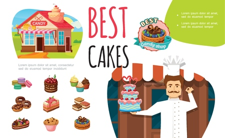 Cartoon tasty desserts colorful concept with confectioner candy shop macaroons pie donuts cupcakes muffin cakes with berries and nuts vector illustration
