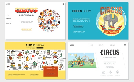 Flat circus websites set with tent strongman trained animals acrobat clown magician carousels cannon tickets elements and linear icons vector illustration Illustration
