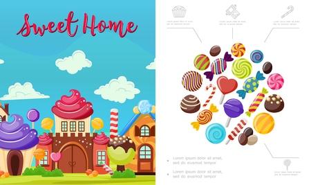 Composition de maison douce plate avec de savoureux bonbons colorés maison lumineuse de chocolat à la crème fouettée et sucettes vector illustration