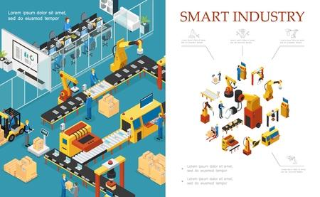 Izometryczny skład nowoczesnej produkcji przemysłowej ze zautomatyzowanymi liniami montażowymi i pakującymi ilustracji wektorowych operatorów robotów ramion inżynierskich
